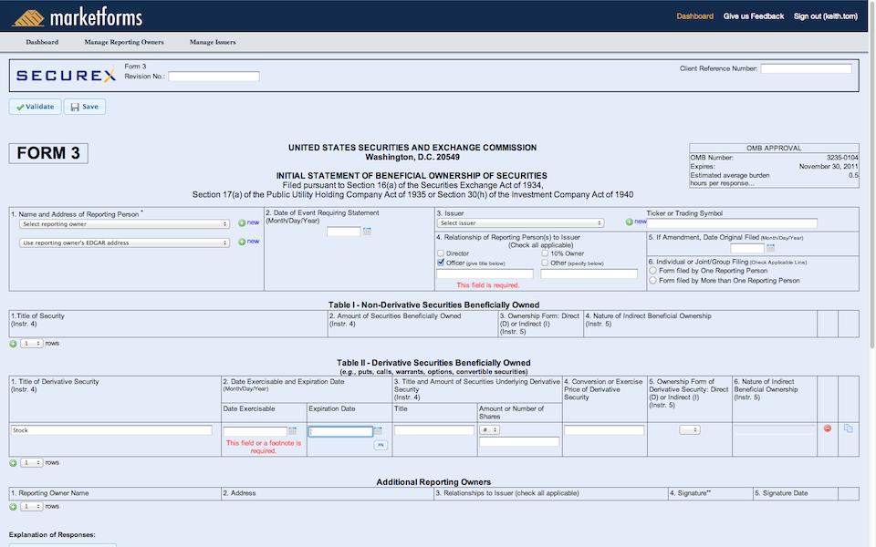 Sec Form 4 >> Marketforms Sec Filing Company Online Sec Filings For Form 3 Form
